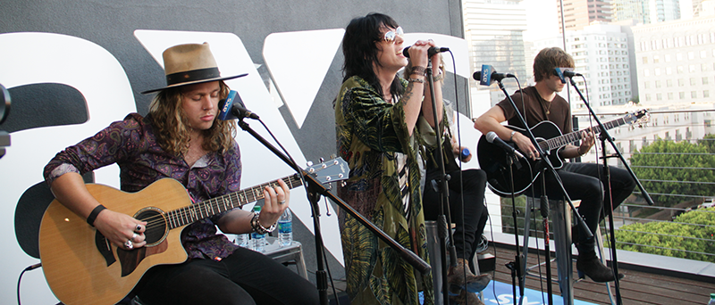 Rock band sensation The Struts perform on the roof of the AXS Los Angeles office as part of the AXS Patio Sessions, an integrated live stream event showcasing artists and celebrating live entertainment.